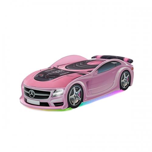 Кровать-машина UNO Мерседес розовый