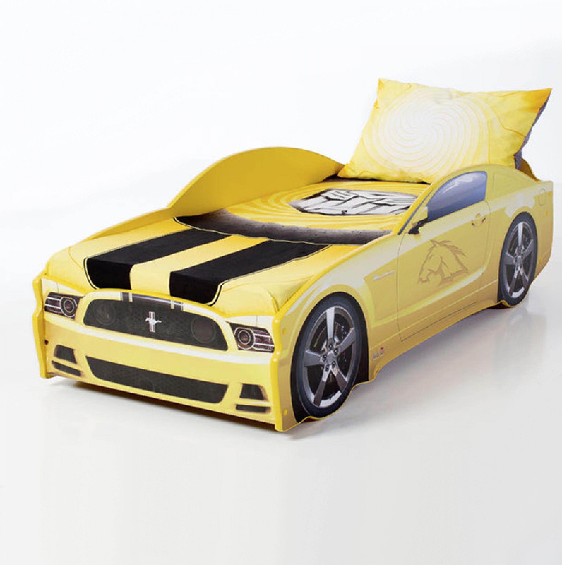 Futuka kids кровать- машина LIGHT Мустанг (цвет желтый)