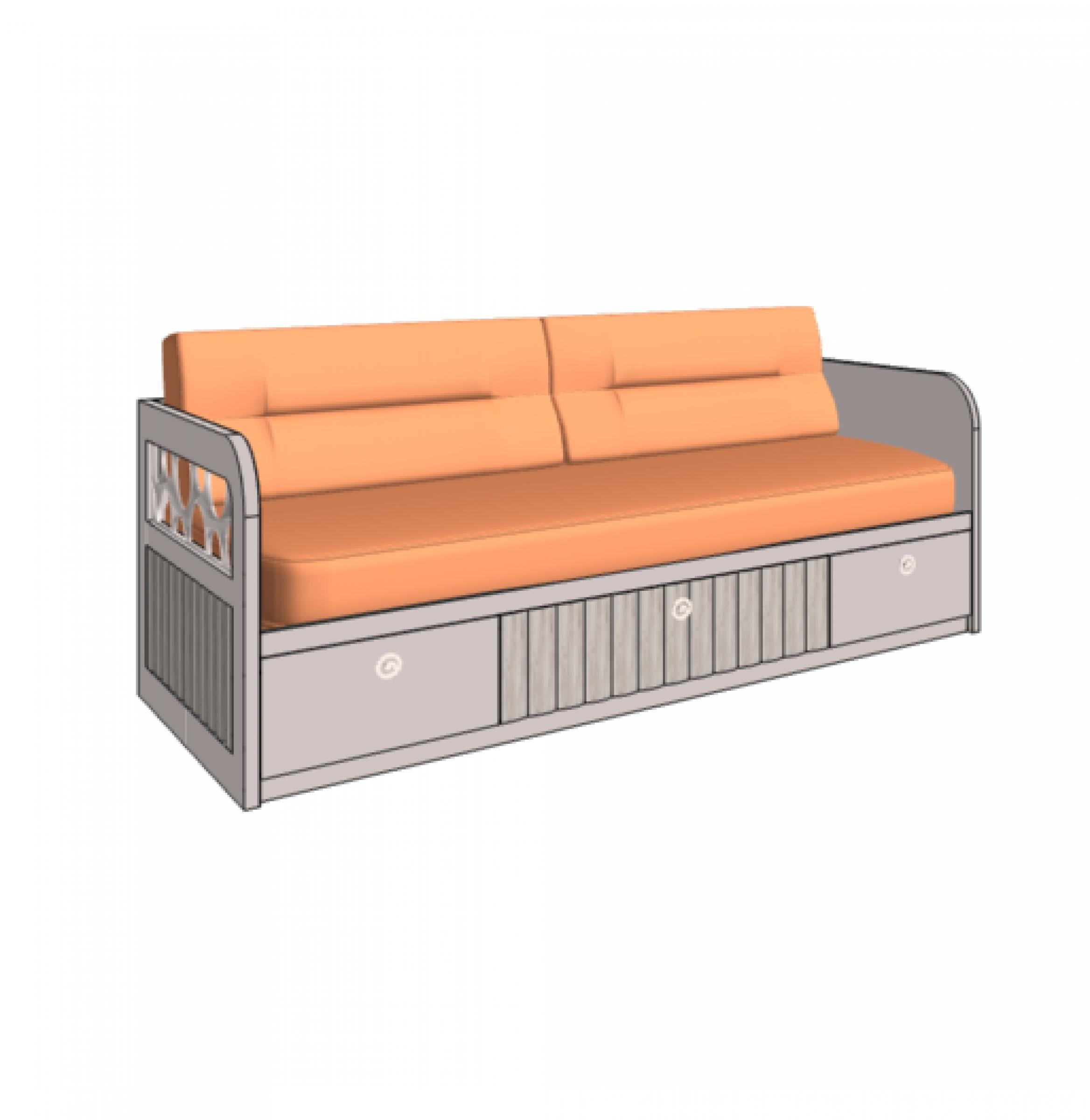 Klюkva кровать - диван VELVET с 3-мя ящиками, 1 техническая боковина. арт: VD2 L/RQ