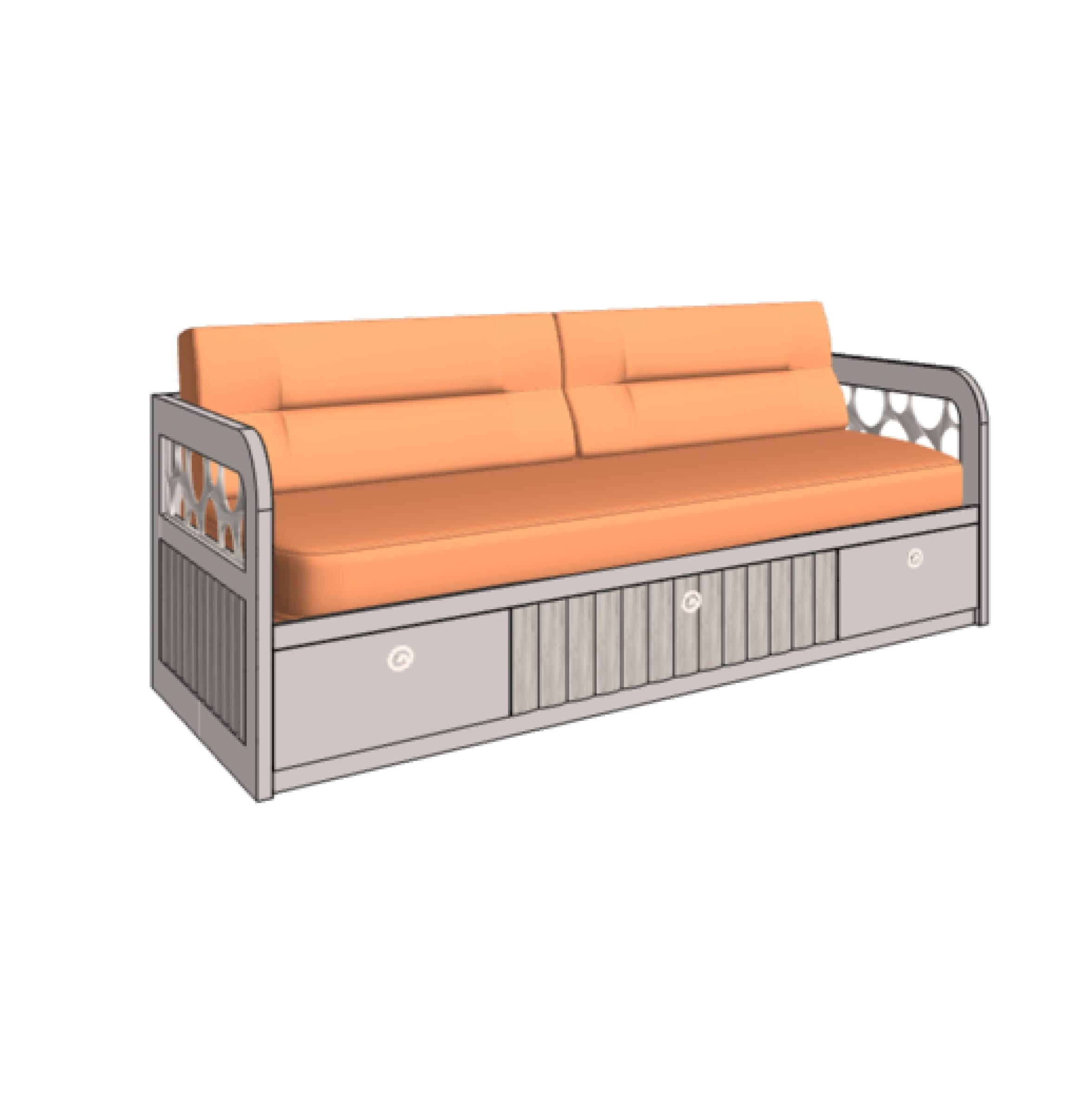 Klюkva кровать - диван VELVET с 3-мя ящиками, 2 декорированные боковины. арт: VD3Q