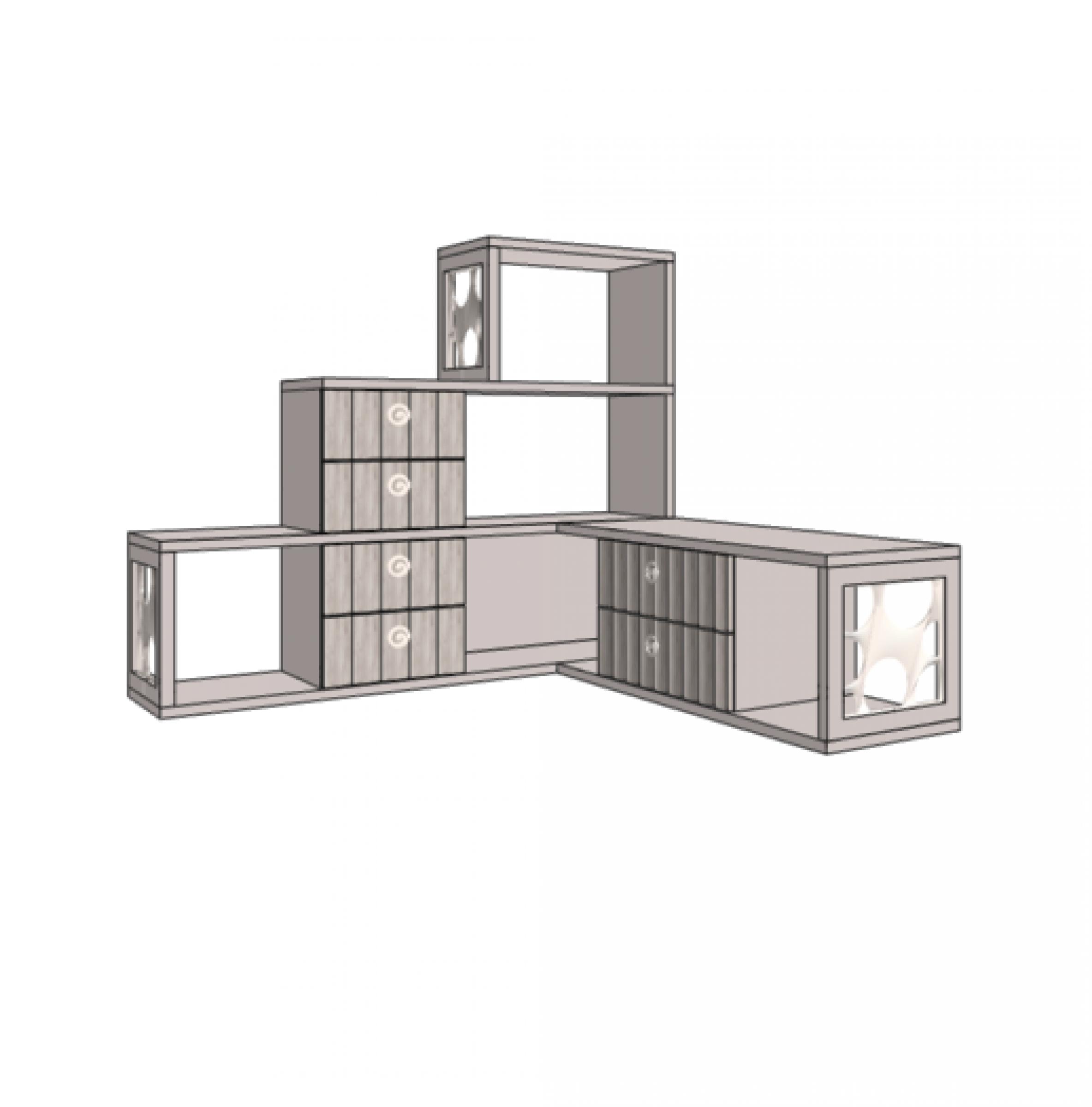 Klюkva горка 3-этажная угловая с 6-ю ящиками, левая. Артикул: VGC1LQ