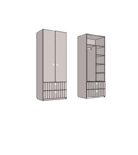 Шкаф двухдверный комбинированный, с 2-мя ящиками. Артикул : VS3_91