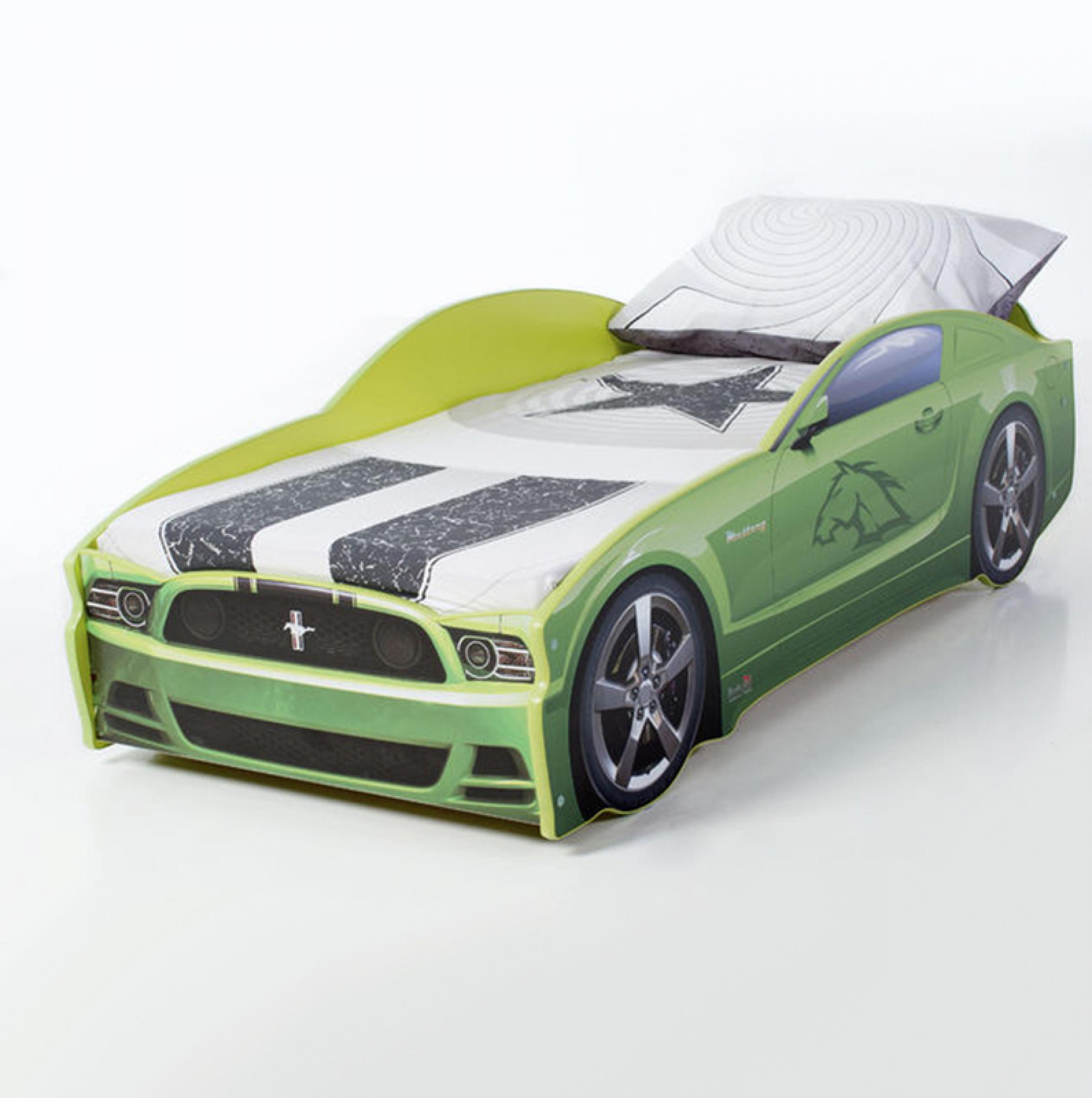Futuka kids  кровать- машина LIGHT Мустанг (цвет зеленый)