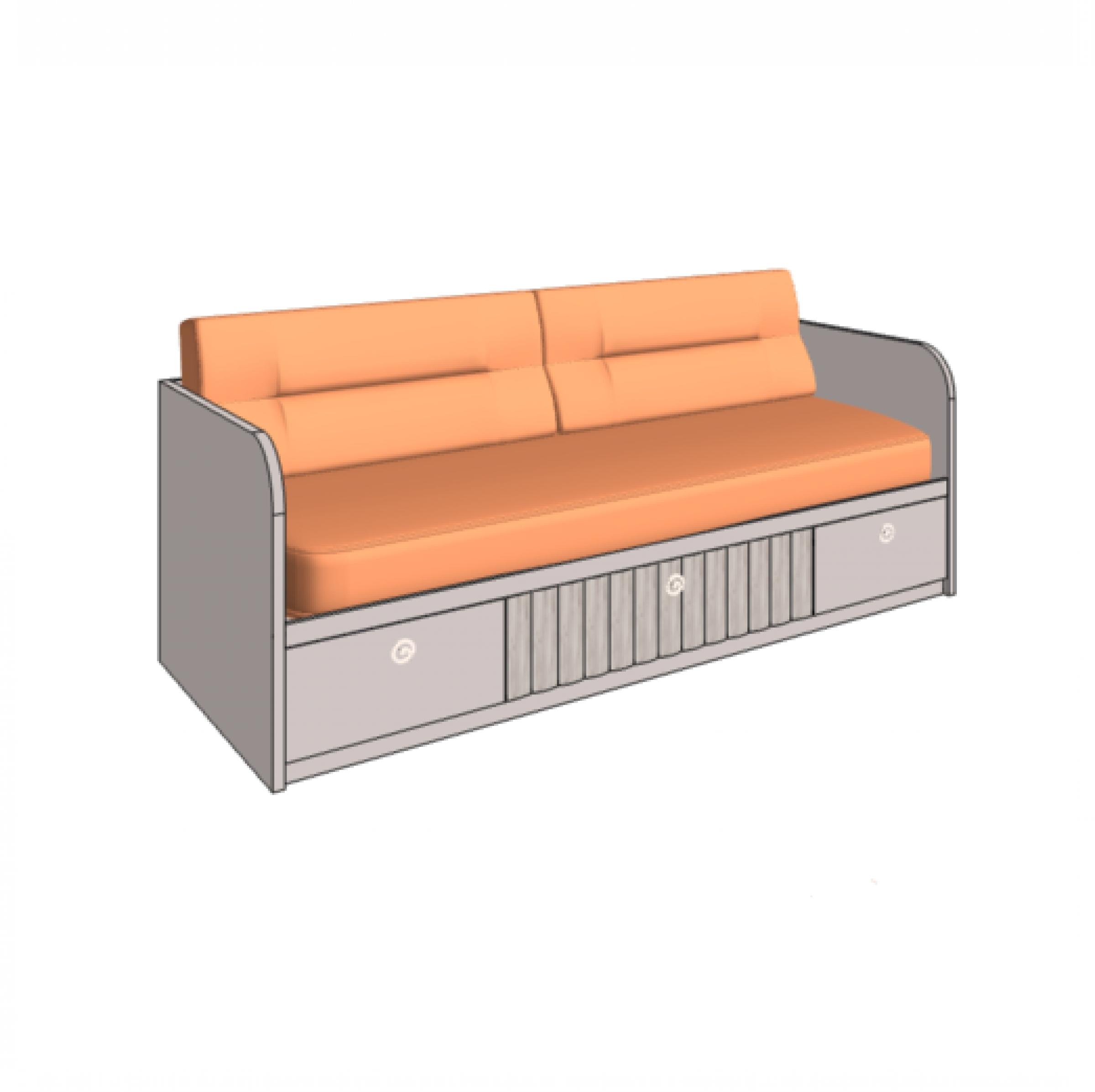 Klюkva кровать - диван VELVET с 3-мя ящиками, 2 технические боковины. арт: VD1Q