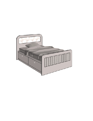 Klюkva кровать отдельностоящая с 2 ящиками. арт: VB3_10