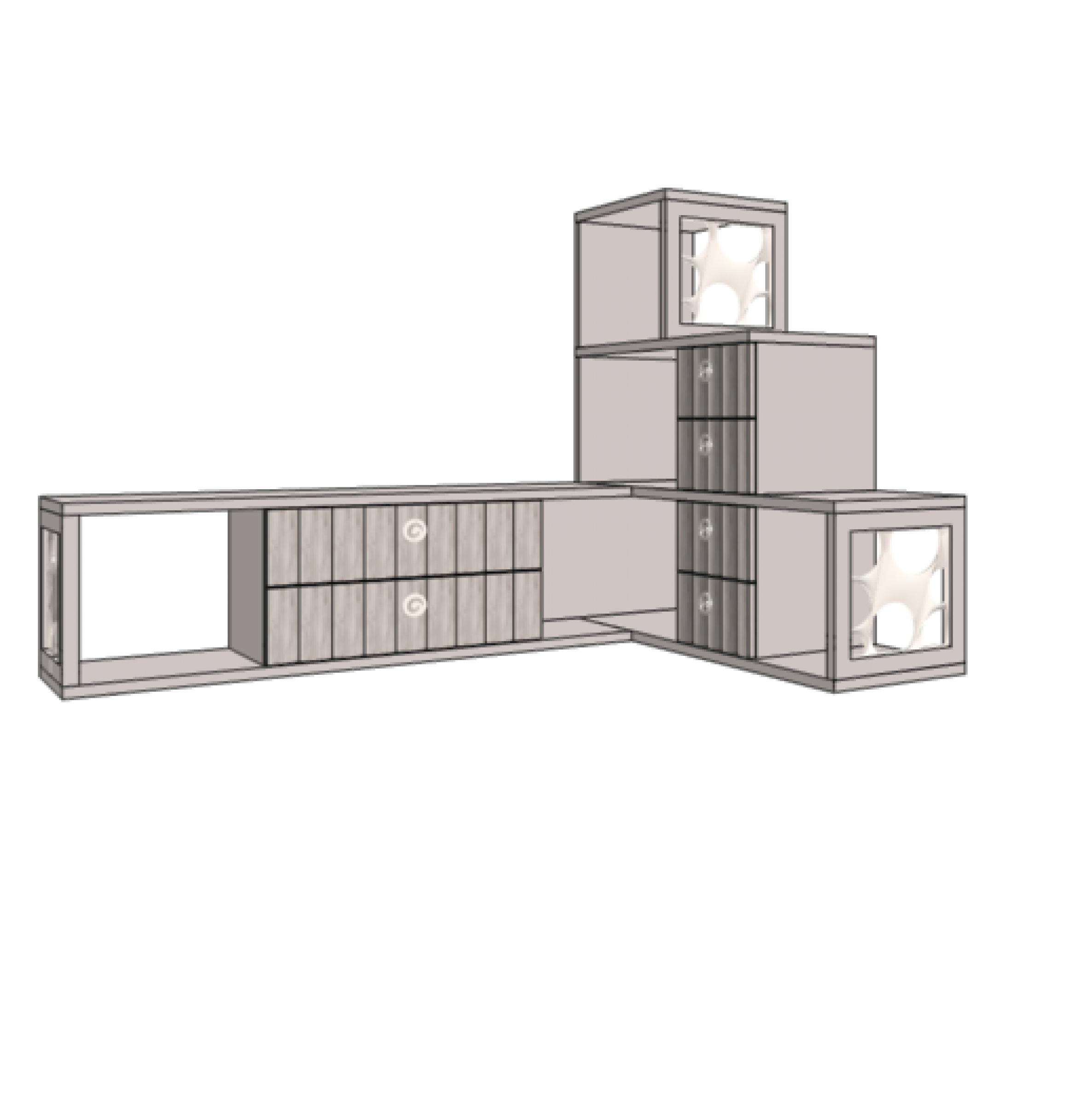 Klюkva горка 3 - этажная с 6-ю ящиками, правая. Артикул : VGC1R