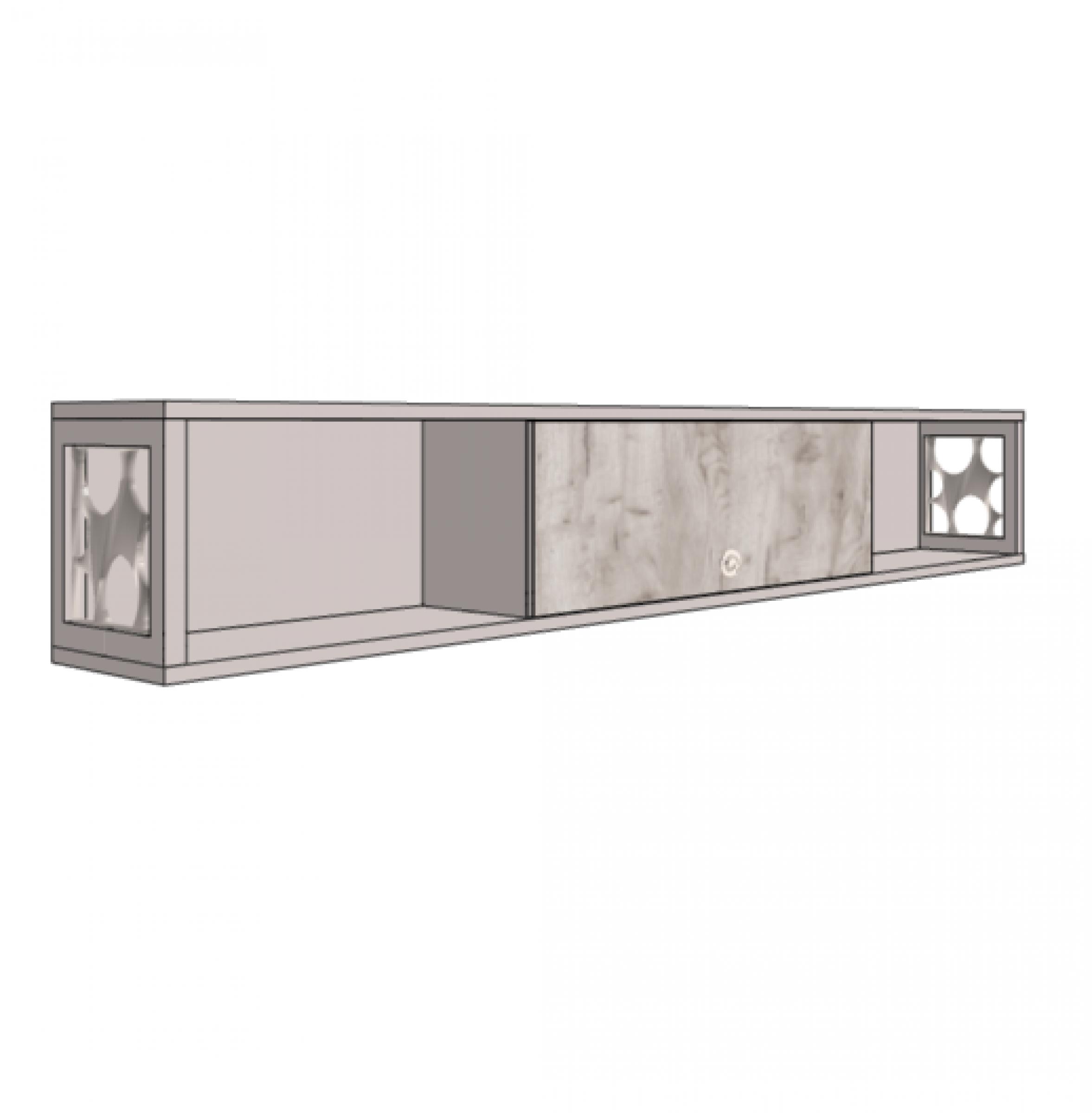 Шкаф навесной с зеркальным фасадом и открытыми полками с декоративными вставками.Артикул: VP4_210