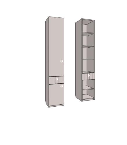 Пенал 2-х дверный с полками, с ящиком. Артикул: VR3_35L/R
