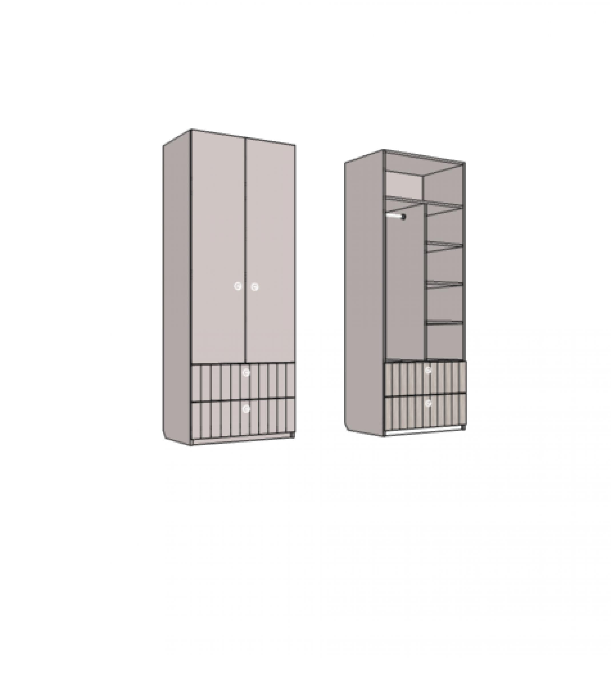 Шкаф двухдверный комбинированный, с 2-мя ящиками. Артикул: VS3_77