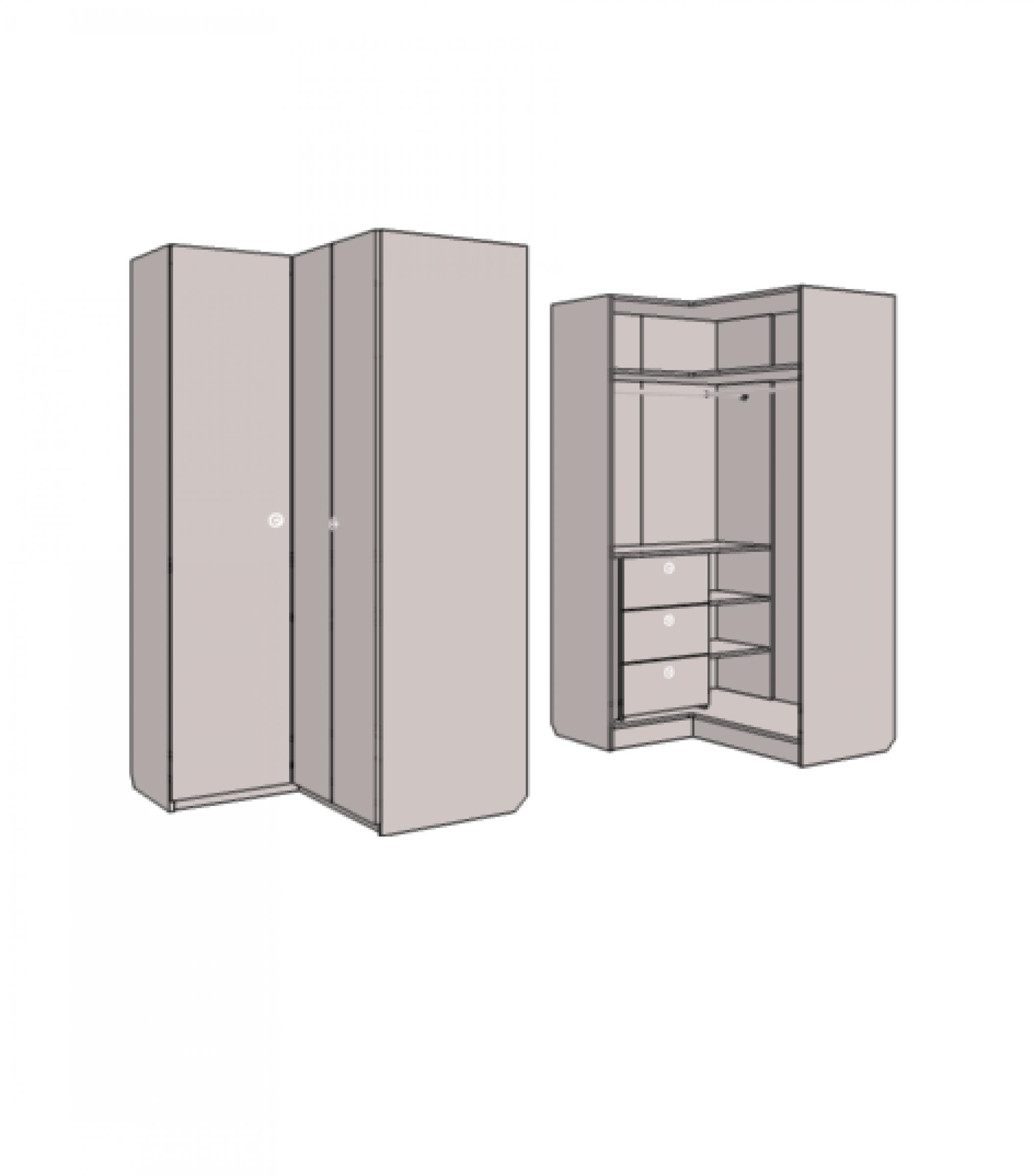 Шкаф - гардероб угловой с 3-мя внутренними ящиками. Артикул: VSU_12L/R