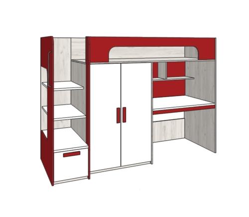 Klюkva кровать-чердак с ящиком, компьютерный стол+ шкаф. арт: BR_06R/L